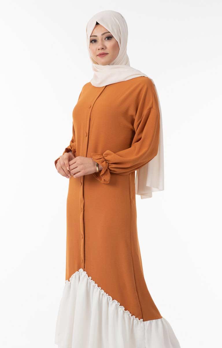 Tesettür Elbise Düğmeli Fırfır Detaylı Hws5155-2
