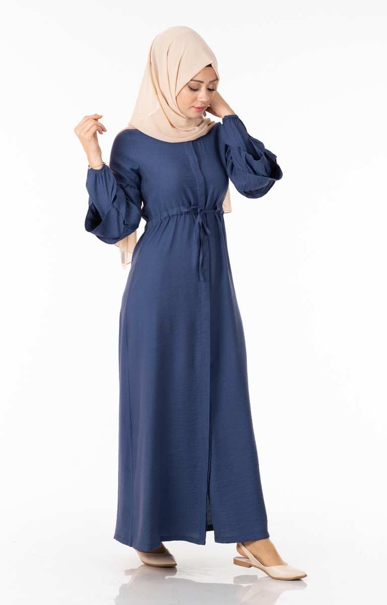 Tesettür Elbise Düğmeli Kolu Fırfırlı İndigo Ngs3051-3