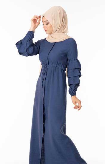 NGS Life - Tesettür Elbise Düğmeli Kolu Fırfırlı İndigo Ngs3051-3 (1)