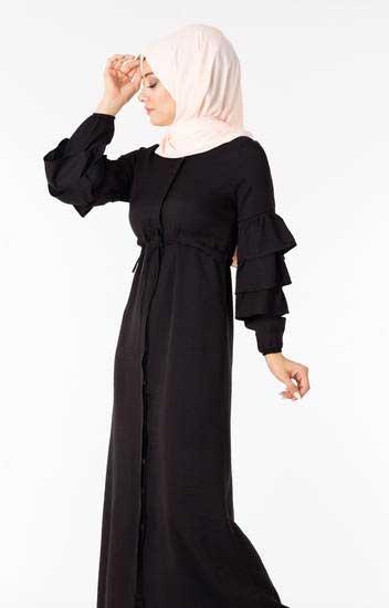 NGS Life - Tesettür Elbise Düğmeli Kolu Fırfırlı Siyah Ngs3051-5 (1)