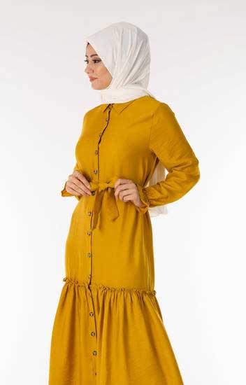 Moda Koncept - Tesettür Elbise Fırfırlı Kuşaklı Hardal Kcp1720-4 (1)