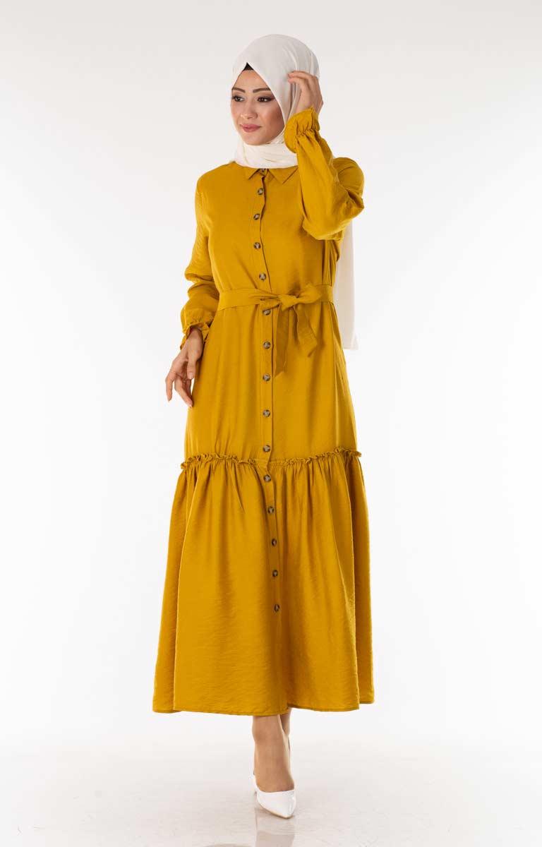 Tesettür Elbise Fırfırlı Kuşaklı Hardal Kcp1720-4