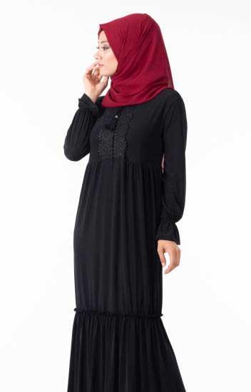 Hbs - Tesettür Elbise Göğsü Güpürlü Fırfırlı Hbs8410-3 (1)