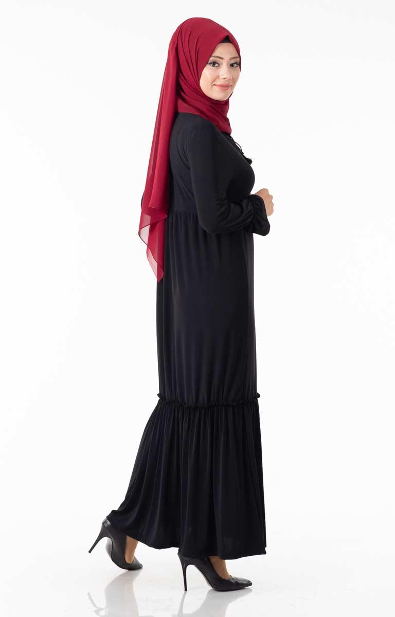 Tesettür Elbise Göğsü Güpürlü Fırfırlı Hbs8410-3