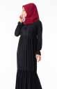 Tesettür Elbise Göğsü Güpürlü Fırfırlı Hbs8410-3 - Thumbnail