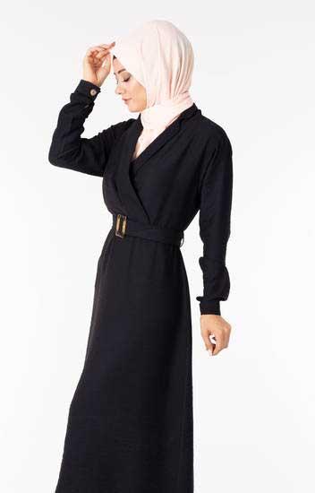NGS Life - Tesettür Elbise Kemerli Siyah Ngs3040-1 (1)