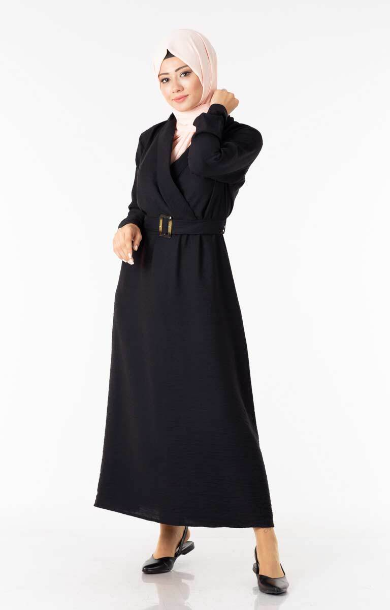 Tesettür Elbise Kemerli Siyah Ngs3040-1