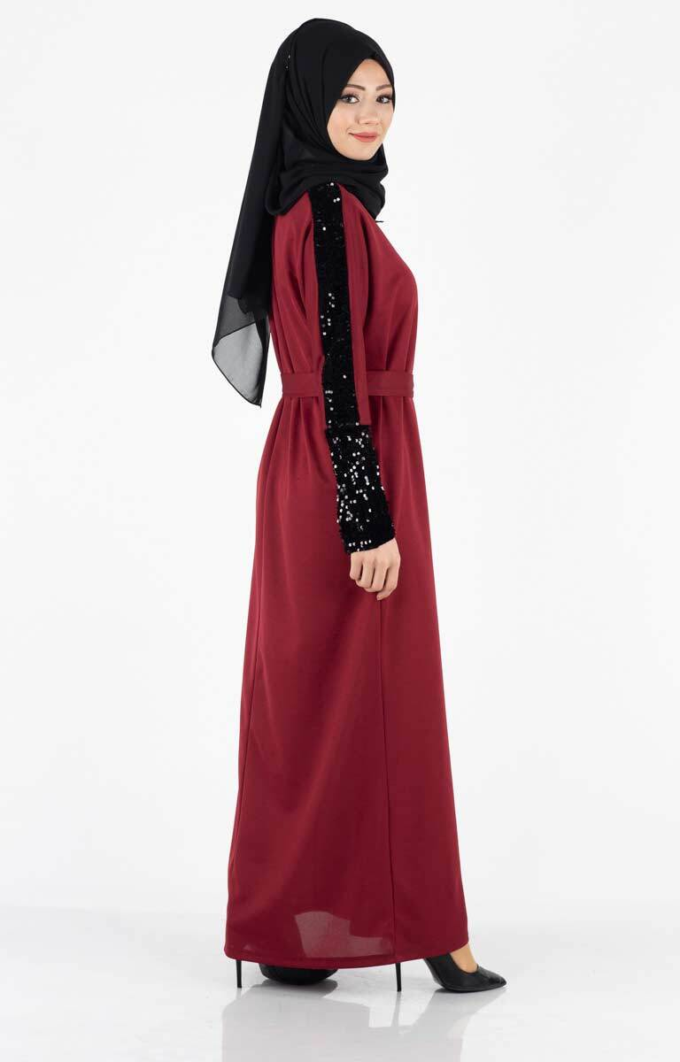 Tesettür Elbise Kolları Payetli Kuşaklı Lgz4001-1