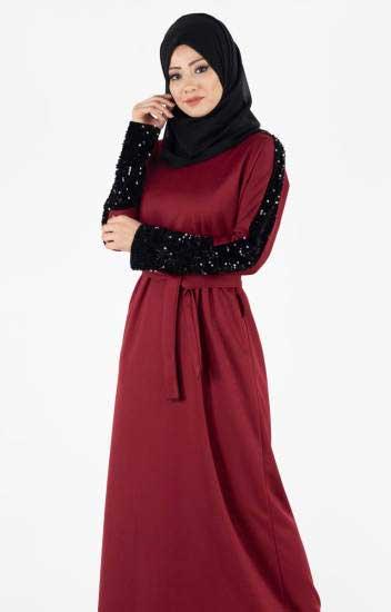 La Giza - Tesettür Elbise Kolları Payetli Kuşaklı Lgz4001-1 (1)