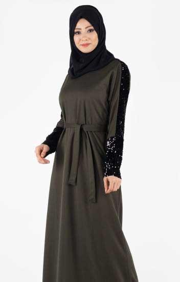 La Giza - Elbise Kolları Payetli haki Kuşaklı Lgz4001-3 (1)