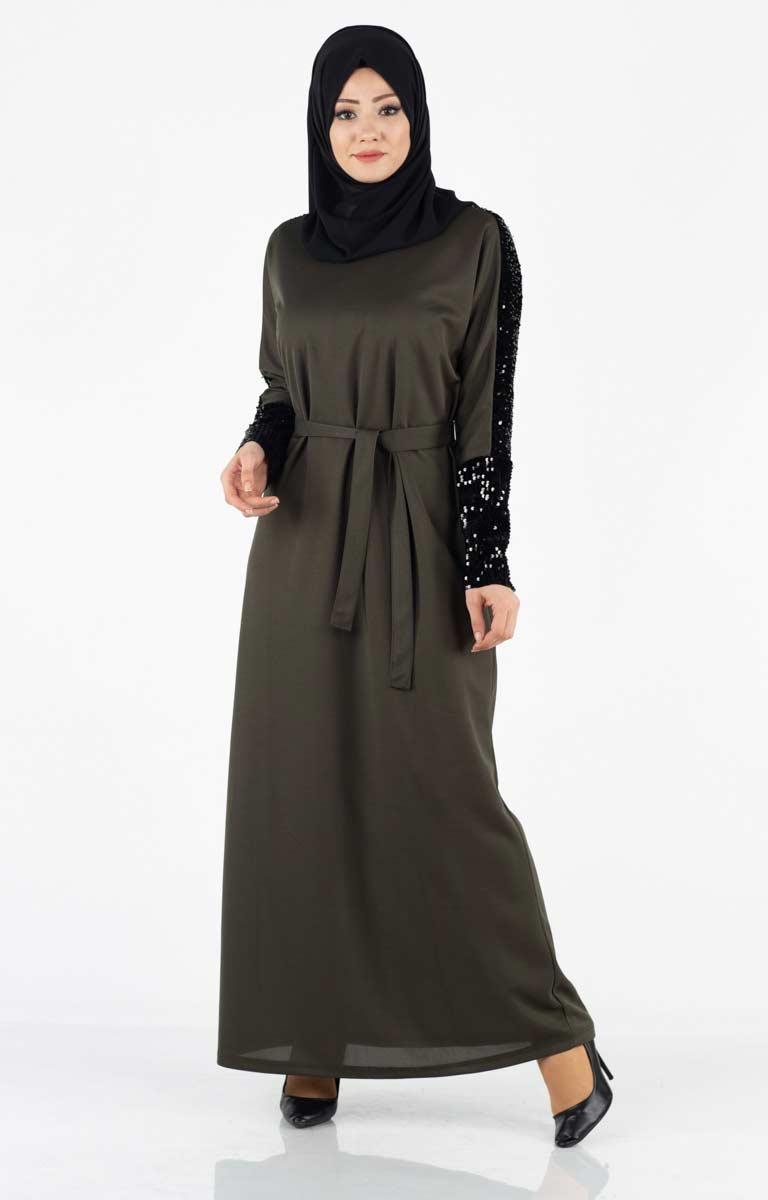 Tesettür Elbise Kolları Payetli Kuşaklı Lgz4001-3