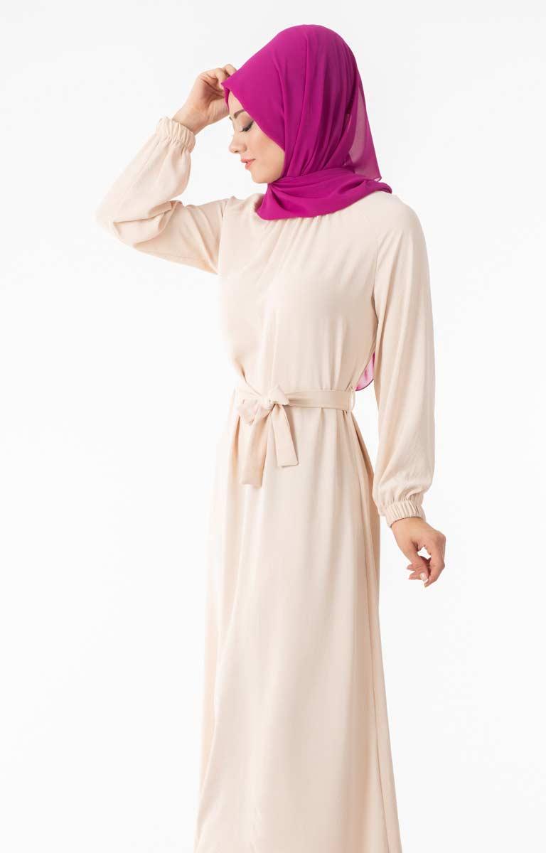 Tesettür Elbise Kuşaklı End5026-5