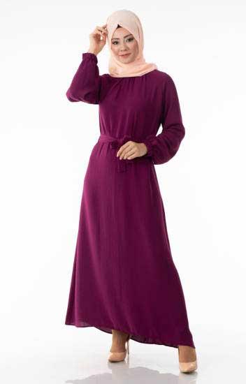 Tesettür Elbise Kuşaklı End5026-6
