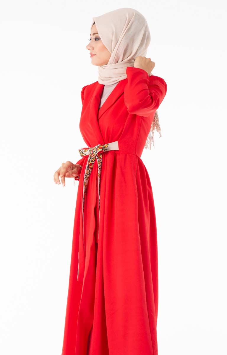 Tesettür Hırka Uzun Kuşaklı Kırmızı Znk4089-2