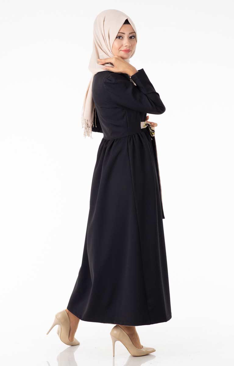 Tesettür Hırka Uzun Kuşaklı Siyah Znk4089-4