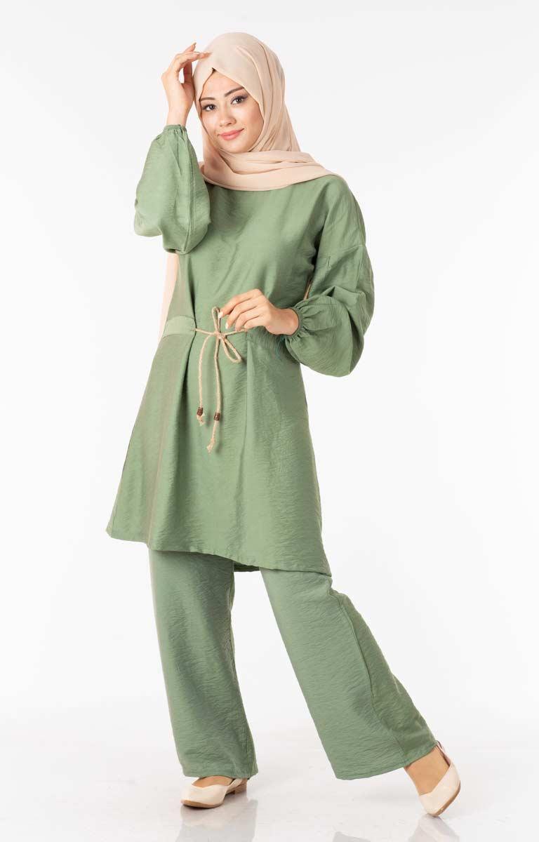 Tesettür İkili Takım Bağcıklı Yeşil Efl5432-4