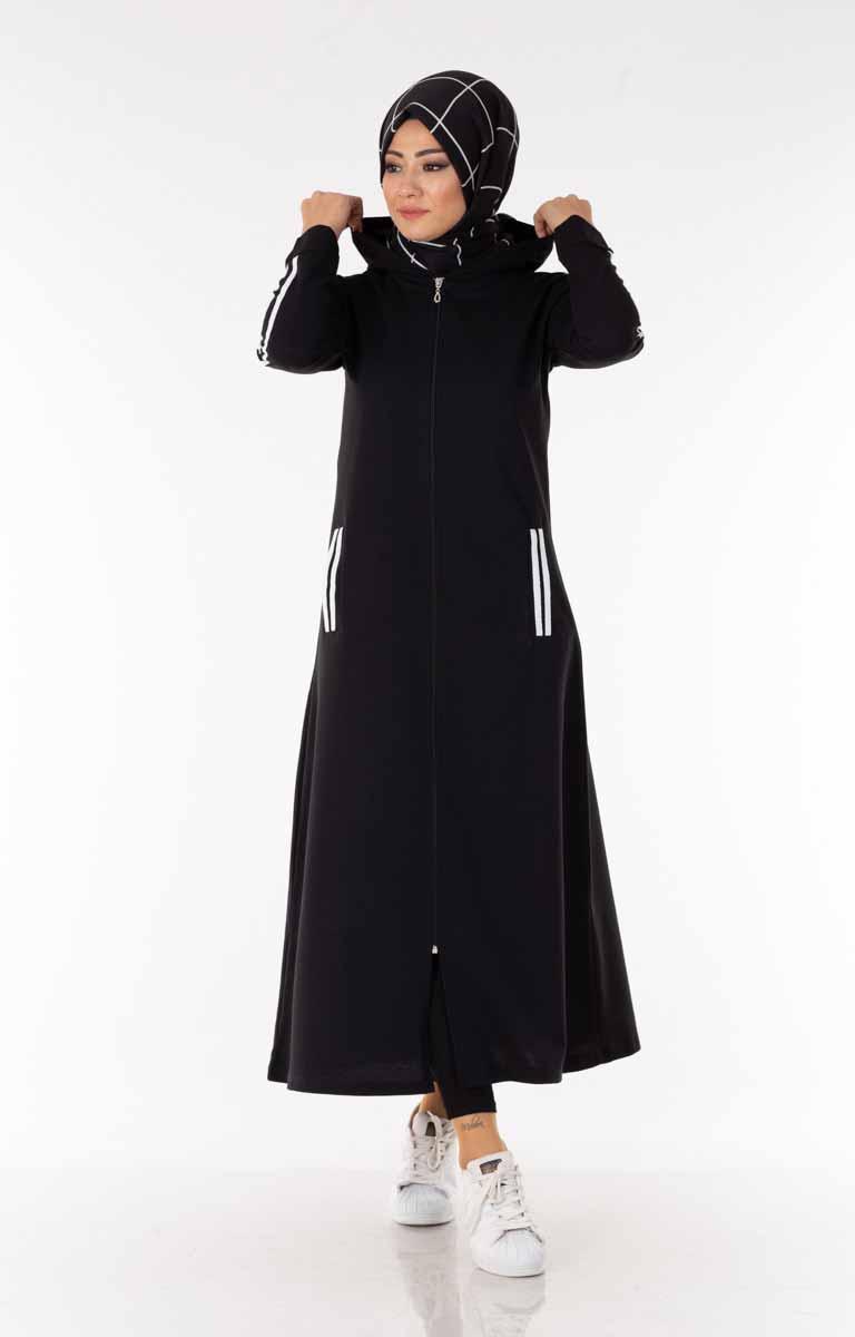 Tesettür Kap Fermuarlı Kapşonlu Siyah Efl5052-1