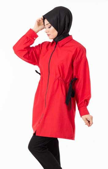 New She Fashion - Tesettür Kap Yazlık Fermuarlı Kuşaklı Nsf1294-3 (1)