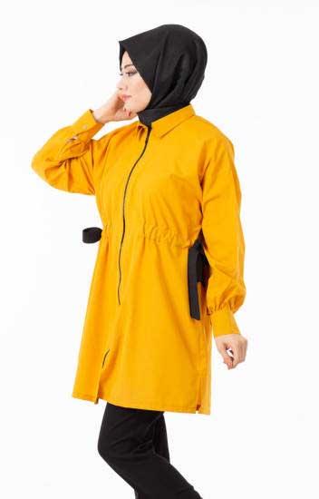 New She Fashion - Kap Yazlık hardal Fermuarlı Kuşaklı Nsf1294-4 (1)