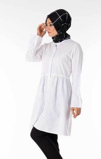 New She Fashion - Tesettür Tunik Düğmeli Fırfırlı Beyaz Nsf6161-1 (1)