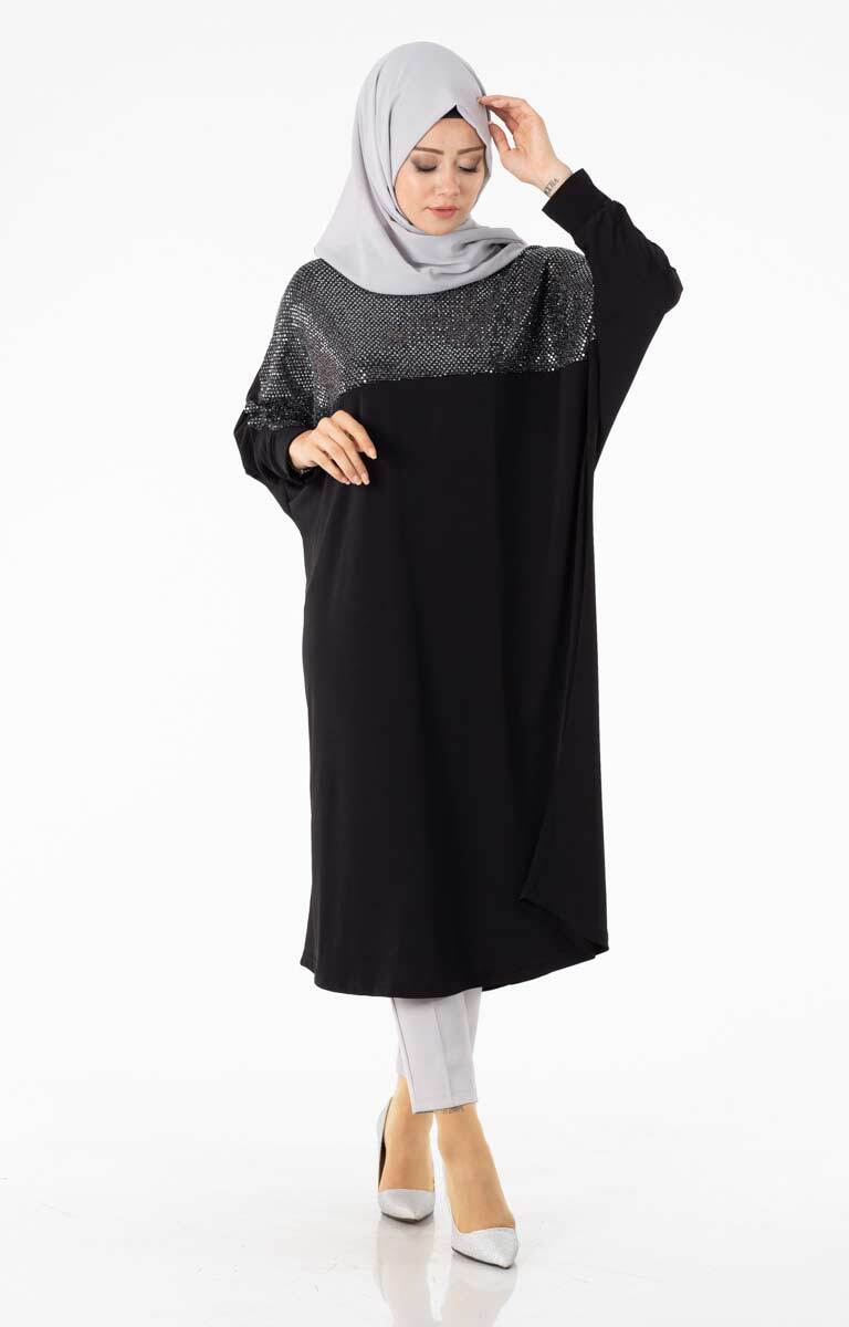 Tesettür Tunik Pullu Salaş Siyah Brf1452-2