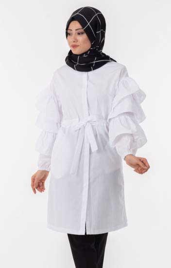 Clb Tekstil - Tesettür Tunik Volan Kol Kuşaklı Clb1240-2 (1)