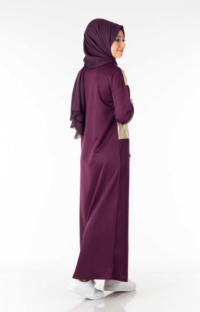 Varak Garnili Mürdüm Tesettür Elbise Lgz4055-2