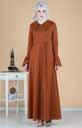 Volan Kollu Kuşaklı Elbise 260-02 - Thumbnail