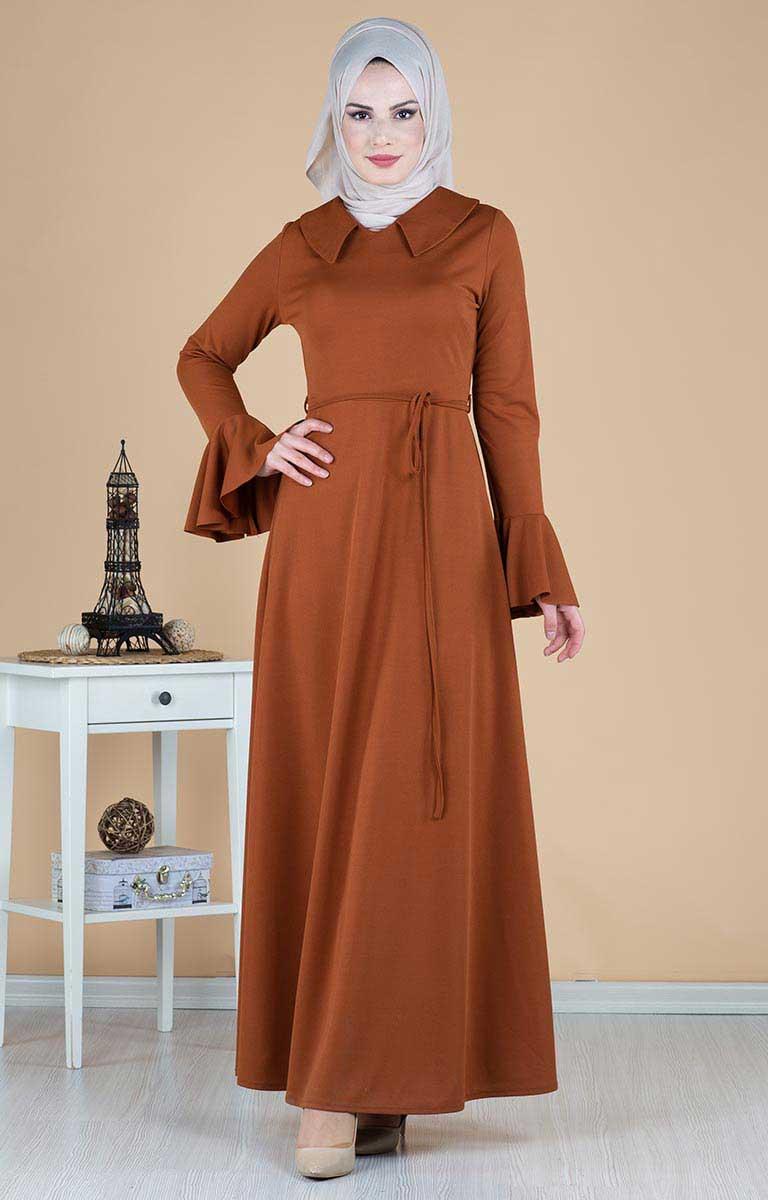 Volan Kollu Kuşaklı Elbise 260-02