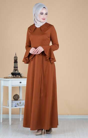 Kuşaklı Elbise - Volan Kollu Kuşaklı Elbise 260-02 (1)