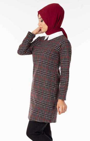 Nessia - Yakalı Ekose Kırmızı Tesettür Tunik Nsa5611-1 (1)