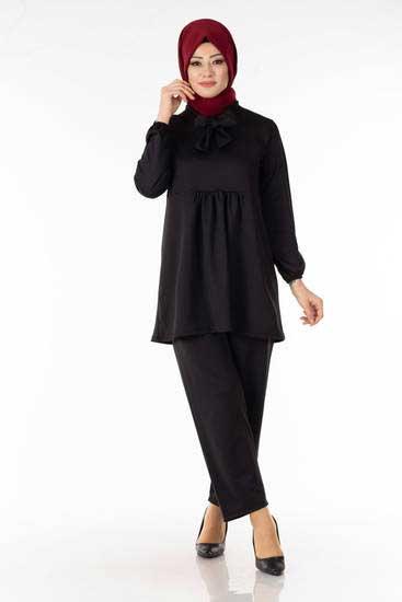 Yakası Bağcıklı Siyah İkili Takım Efl5633-7