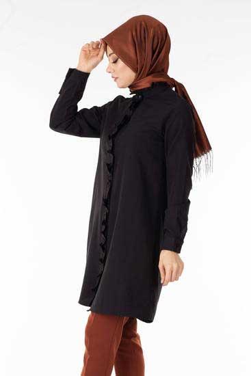 New She Fashion - Yakası Fırfırlı Siyah Gömlek Nsf1342-1 (1)