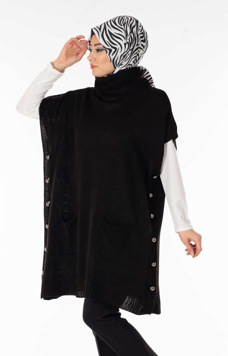 Yanı Düğmeli Siyah Triko Panço Alg2192-2
