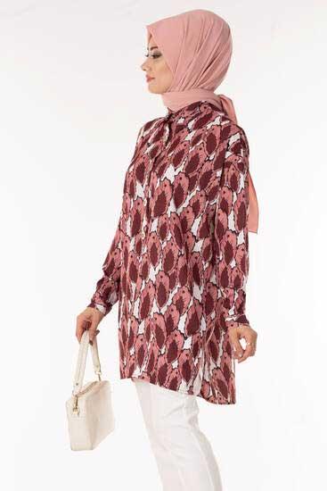 TBT Tekstil - Yaprak Desen Pudra Gömlek Tbt1404-5 (1)