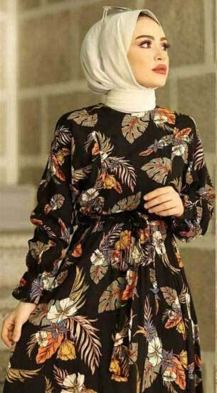 Mestura - Yaprak Desen Siyah Toptan Tesettür Elbise Mst199-1 (1)