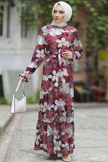 Gülen - Yaprak Desenli Bordo Tesettür Elbise Gln1051-1 (1)