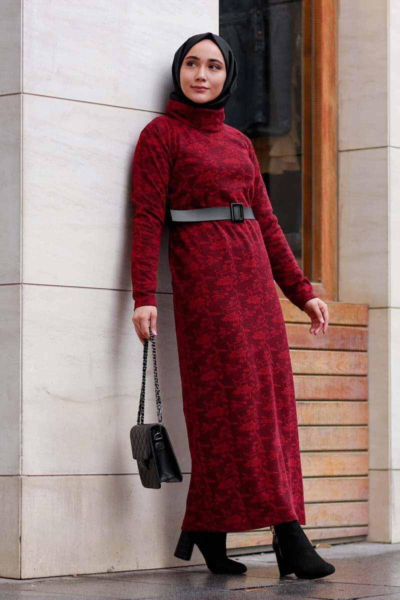 Yaprak Desenli Bordo Toptan Tesettür Elbise Mst1570-2