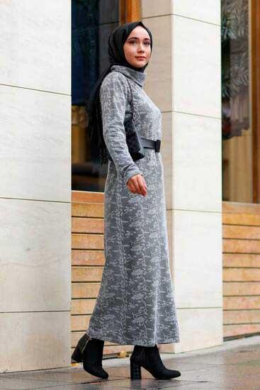 Mestura - Yaprak Desenli Gri Toptan Tesettür Elbise Mst1570-1 (1)