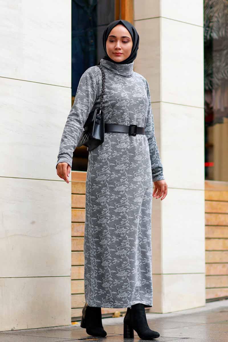 Yaprak Desenli Gri Toptan Tesettür Elbise Mst1570-1