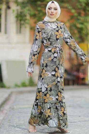Gülen - Yaprak Desenli Haki Tesettür Elbise Gln1051-2 (1)