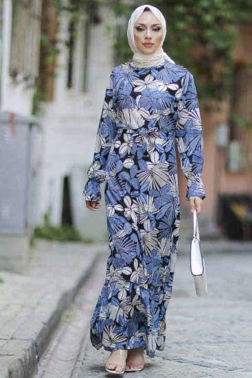 Gülen - Yaprak Desenli İndigo Tesettür Elbise Gln1051-3 (1)