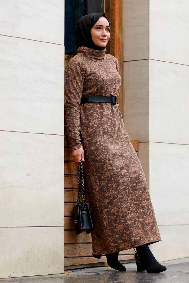 Yaprak Desenli Kahve Toptan Tesettür Elbise Mst1570-3