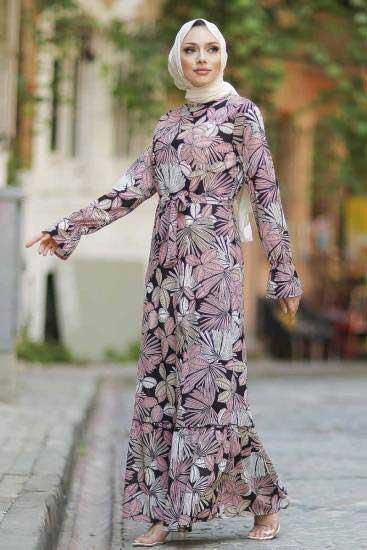 Gülen - Yaprak Desenli Pudra Tesettür Elbise Gln1051-4 (1)