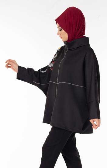 Nessia - Yarasa Kol Nakışlı Siyah Tesettür Tunik Nsa5715-2 (1)