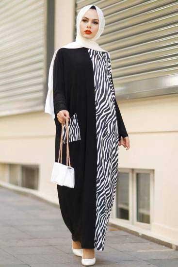 Zebra Desenli Beyaz Yarasa Kol Elbise Rbc295-3