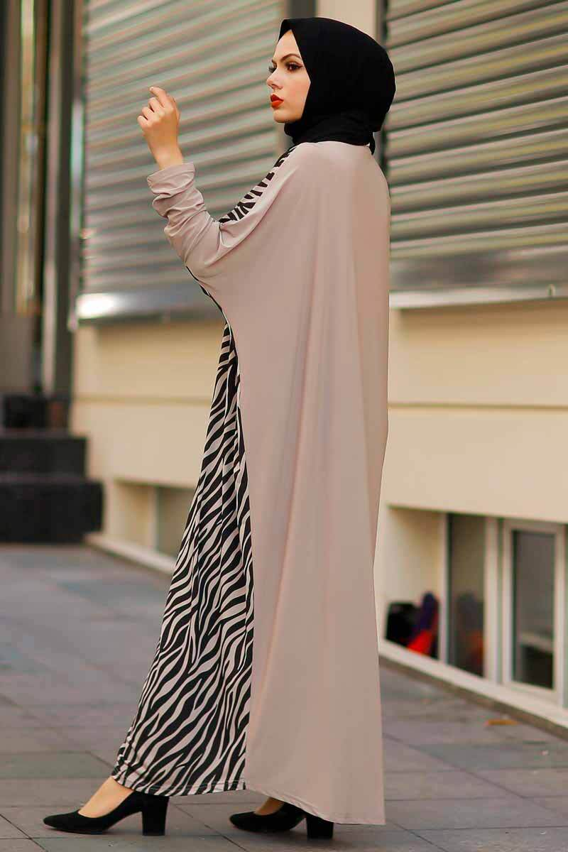 Zebra Desenli Vizon Yarasa Kol Elbise Rbc295-1